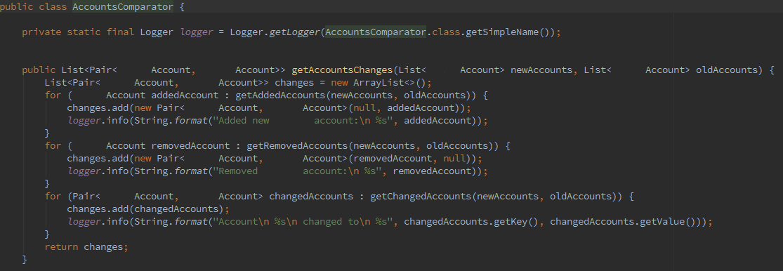 Code of accounts comparing, to detect changes in the database