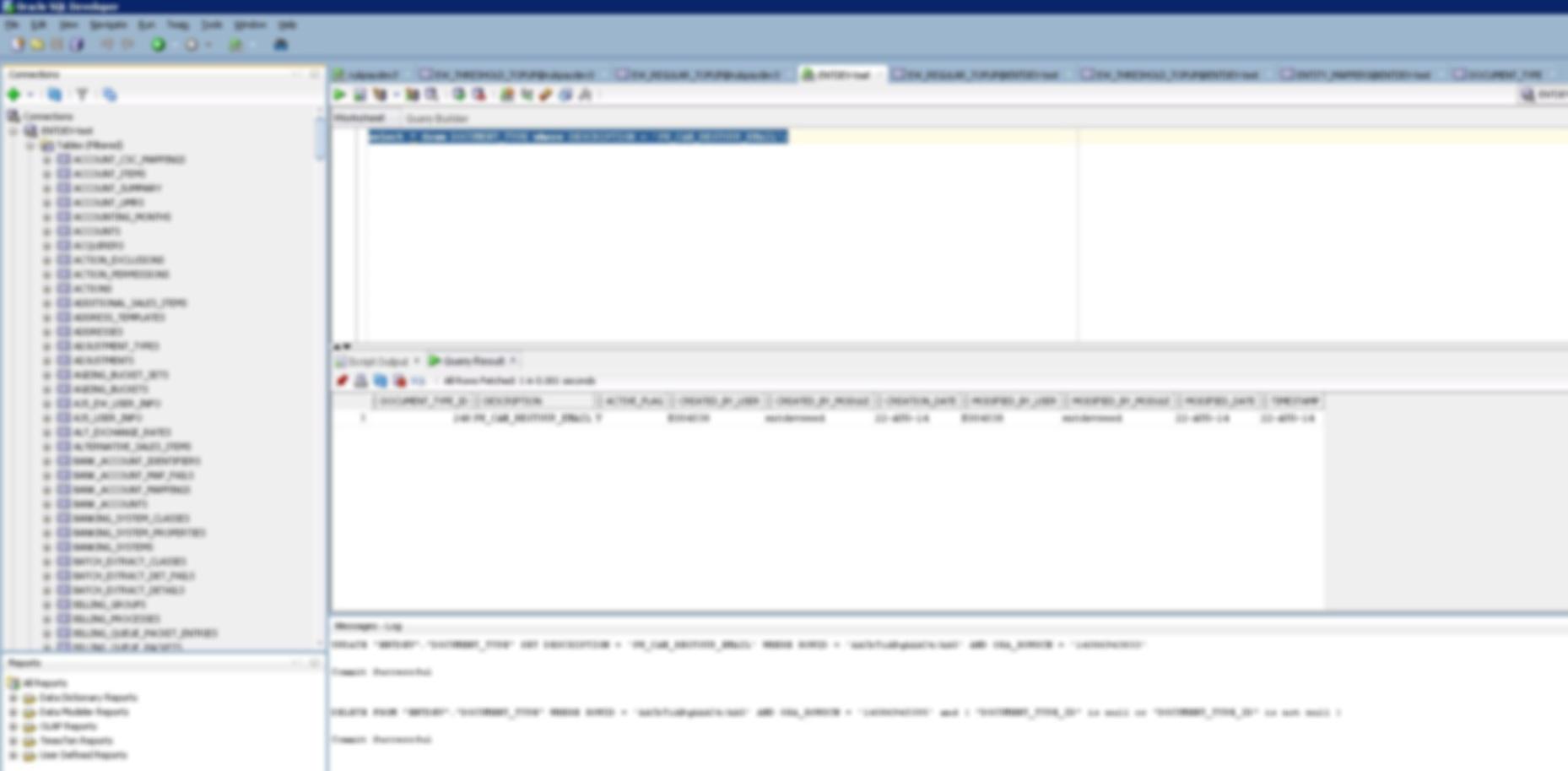 Screen of Oracle SQL Developer software.