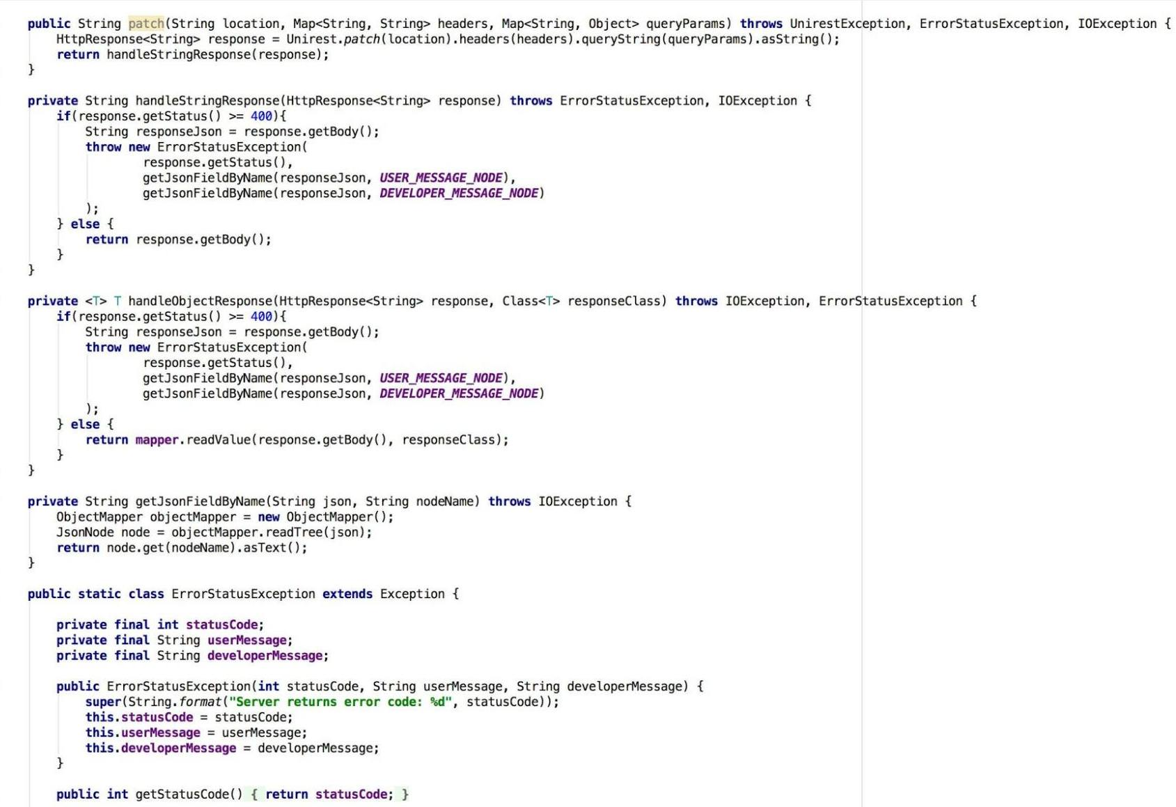 Example of сlass, designed to convert the data to java objects.