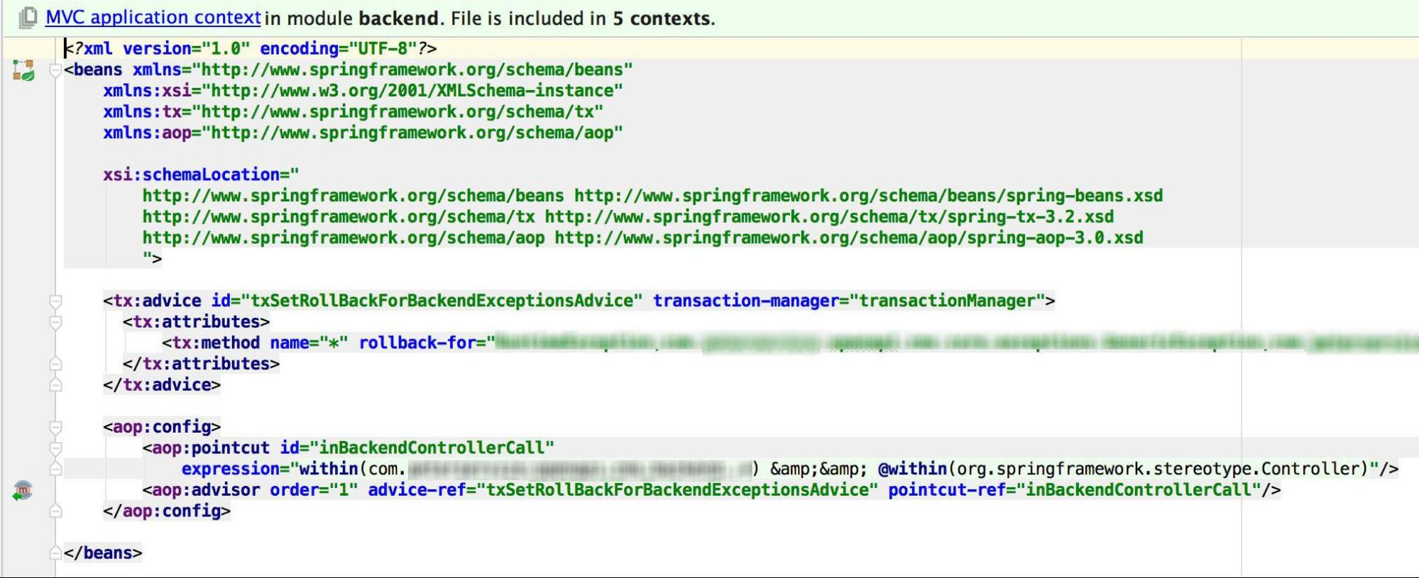 Transaction manager. The configuration file for managing transactions.