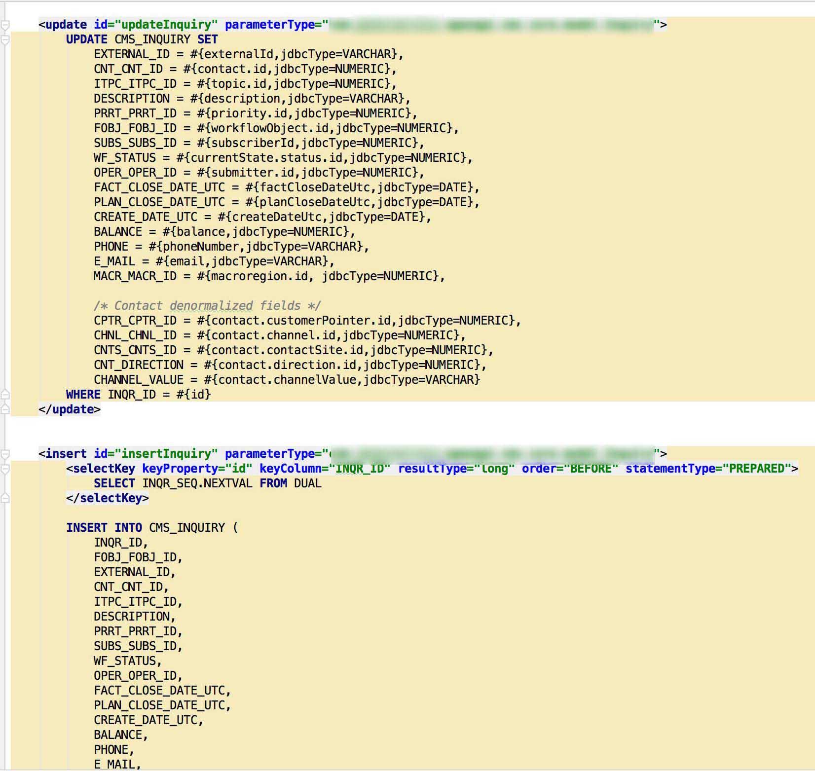 Example of mybatis mapper XML file.