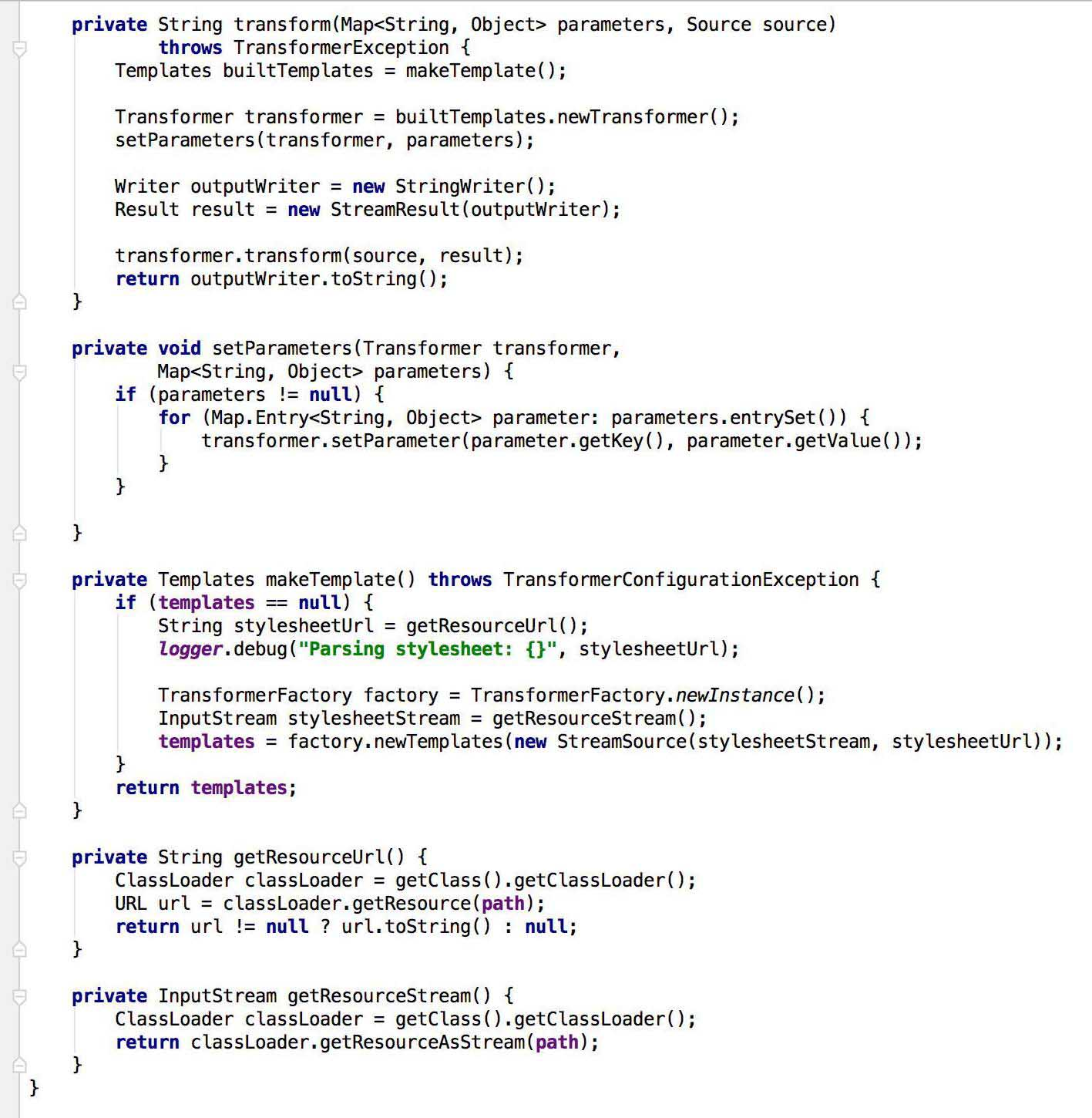 Example of class, designed to XSLT conversion.