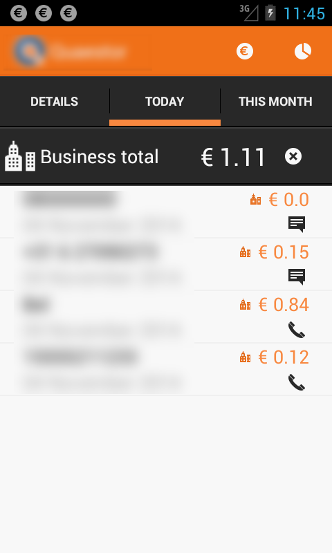 Detailed statistics screen displays the list of events (calls, sms, internet) for today