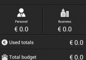 The main application screen indicates the current budget for the month, the spent amount, the remaining funds
