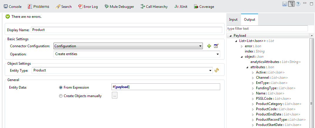 An example of dynamic DataSense work. All attributes of Product entity (Active / Channel / …) were got dynamically.