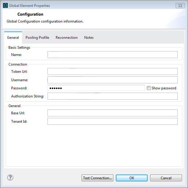 Dialog window of connector configuration