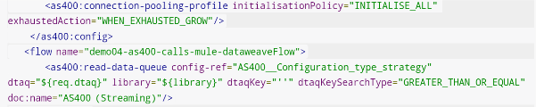 XML representation of Mule flow, contains configuration of AS400 connector.