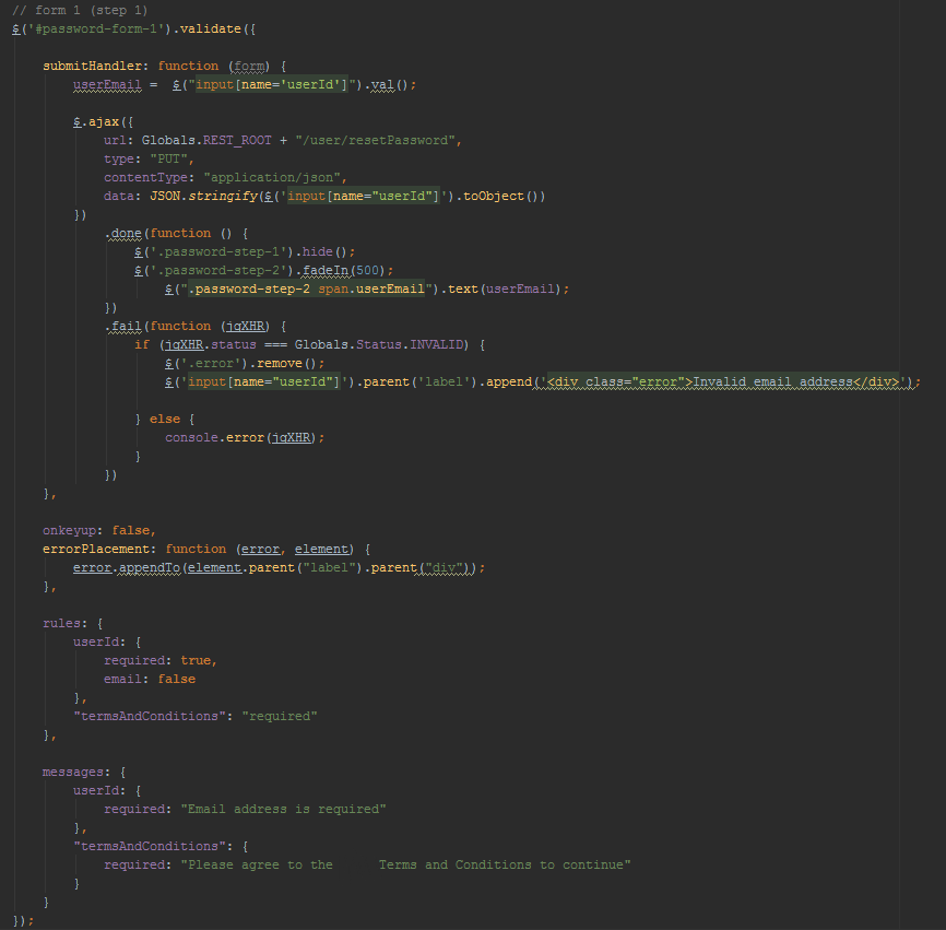 Part of the code which provides processing the first step of user registration on the site.