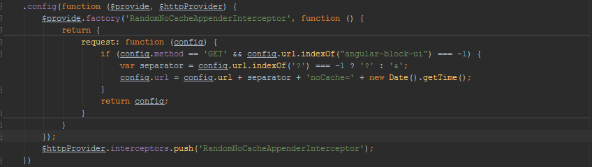 Interceptor for adding a random value to the HTTP requests to prevent caching