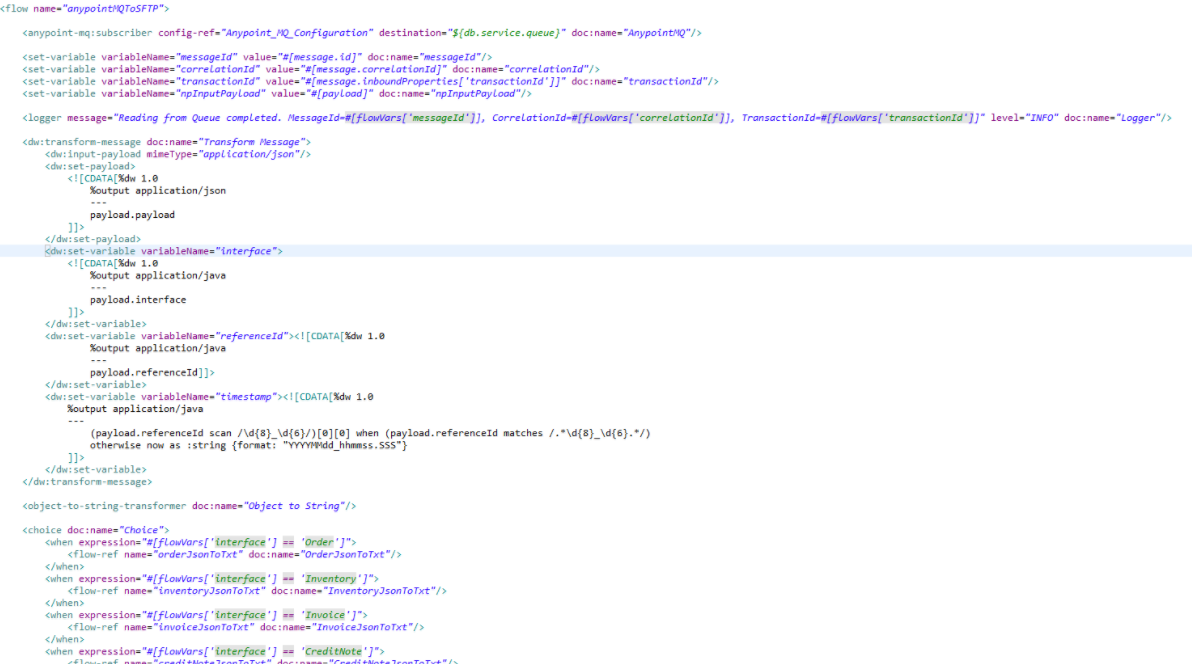 An example of XML code of Mule flow (reading messages from AnypointMQ, executing conversions and further saving to SFTP)