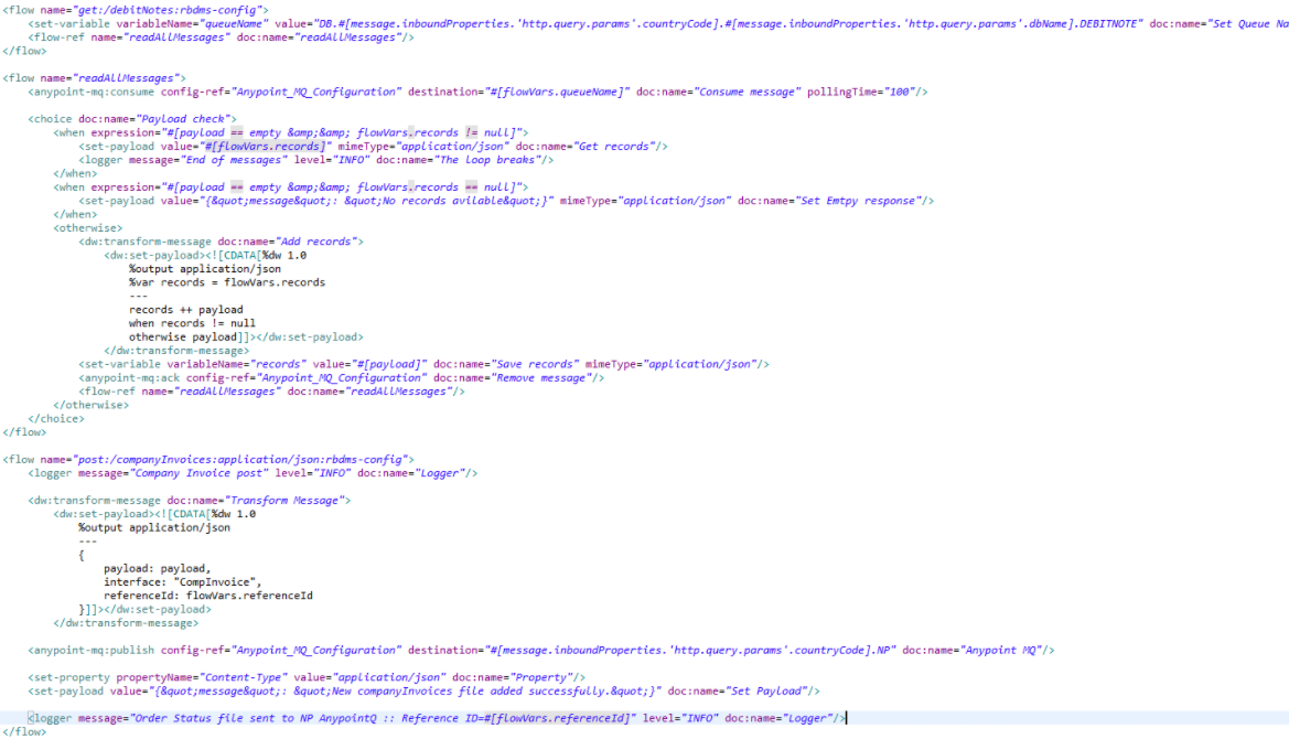 An example of XML code of Mule flow for constructing GET and POST queries
