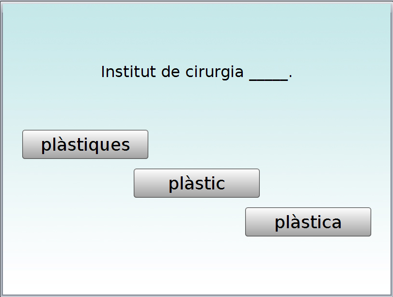 Selector action, the user must select the missing word from the three answer variants.