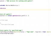 """For the interaction of client and server parts the WEB service approach has been applied. Services were designed in the form of RESTful API, divided by so-called """"name space"""". An example of one of these REST-services can be seen in the screenshot below. The service allows to manipulate quotations, in this case to obtain a quote for a particular page."""