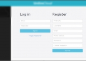 Log-in/register window in the desktop application