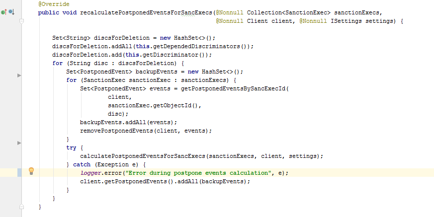 The method for recalculating pending events