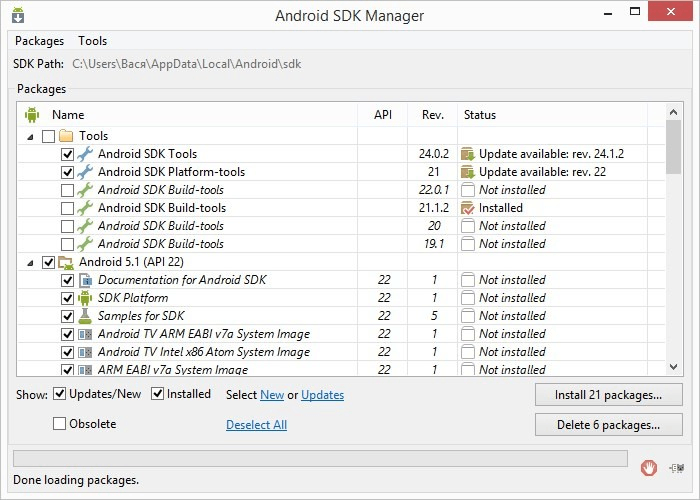 Instruction for software installation, necessary for Android