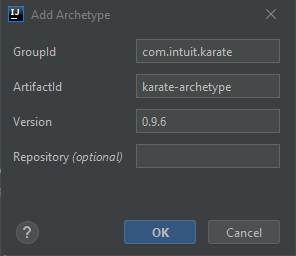 Dialog box for adding an archetype.